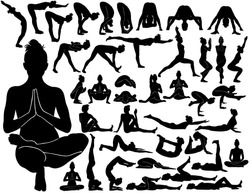 Set of vector silhouettes of woman practicing yoga. Black icons of girl doing exercises to her body strong, flexible and healthy.