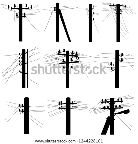 Set of vector silhouettes simple power line poles with wires on middle voltage transmission (wooden and concrete pillars).