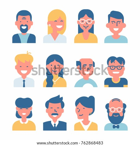 Set of vector simplified minimalistic avatars. Different characters portraits in limited colour scheme. Ideal for social media and business presentations, UI, UX, graphic and web design, applications