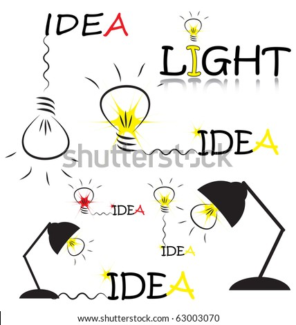 set of vector sketch with bulb and idea words