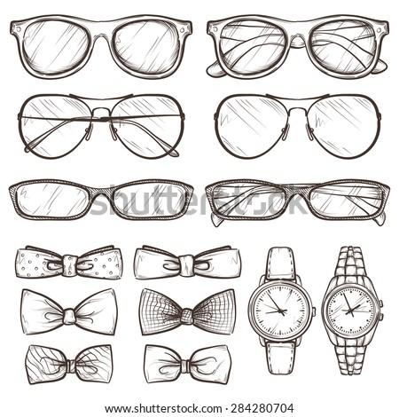 set of vector sketched accessories ストックフォト ©