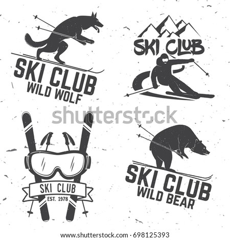 Set of vector ski club retro badges. Concept for shirt, print, seal or stamp. Skis, mountain, bear, wolf and goggles. Typography design- stock vector. Family vacation, activity or travel.