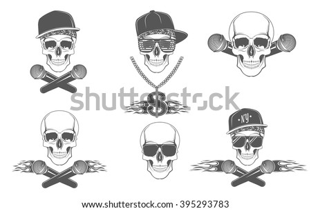 set of vector skulls for music