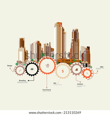 Set of vector skyscrapers with diverse architecture facades. Houses and office buildings in a big city. Infographics. Gears. Sewerage. Stock. Icon. Image. Picture. Illustration. title, website