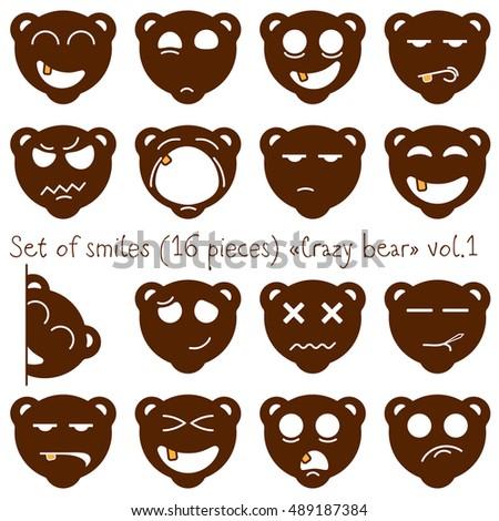 set of vector smiles crazy bear