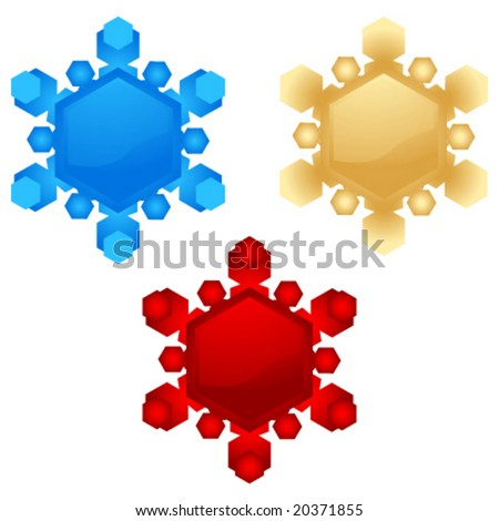 set of vector snowflakes for design