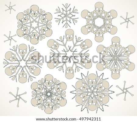 set of vector snowflakes made