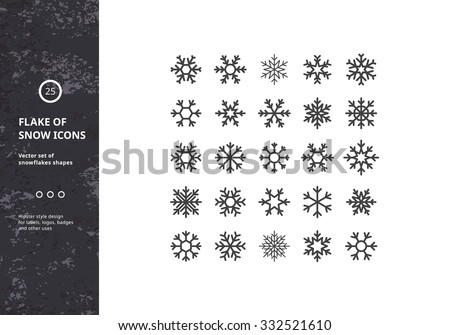 set of vector snowflakes shapes