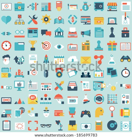 Set of 100 vector social media icons. Flat style design - part 2 - vector icons