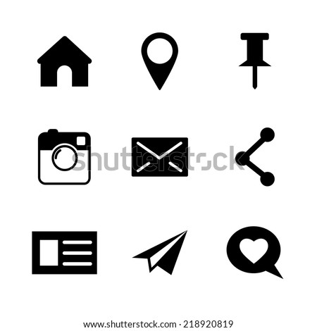 Set of vector social network icons isolated on white - camera, instagram, pin, link, mail, home, point for web design