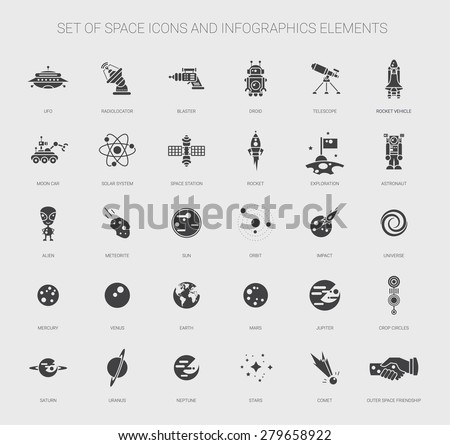 set of vector space icons