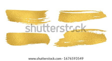 Set of vector sparkle golden mascara brush strokes. Luxury decor of gold shiny foil. Collection of grunge metal paint texture for greeting card design. Glitter patterns isolated from white background.