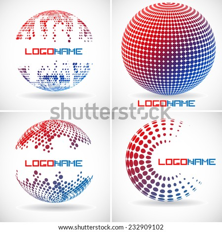 Set of Vector Spheres with Halftone Dots . Logo Design .