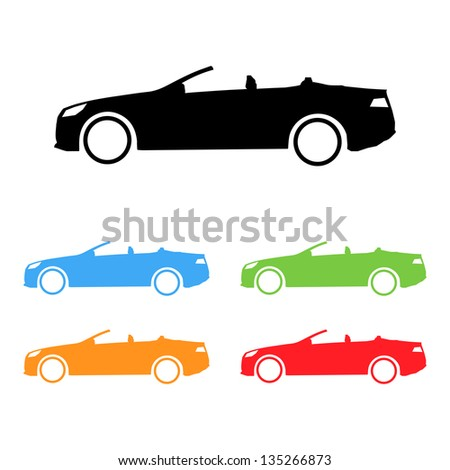 Set of vector sport convertible car silhouettes