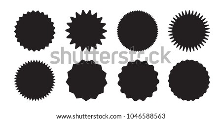 Set of vector starburst, sunburst badges. Black icons on white background. Simple flat style vintage labels, stickers.  #1046588563