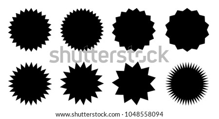 Set of vector starburst, sunburst badges. Black icons on white background. Simple flat style vintage labels, stickers. #1048558094