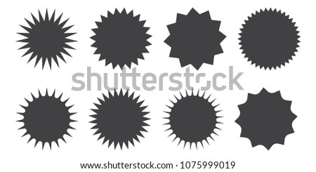 Set of vector starburst, sunburst badges. Black icons on white background. Simple flat style vintage labels, stickers. #1075999019
