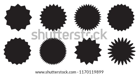 Set of vector starburst, sunburst badges. Black icons on white background. Simple flat style vintage labels, stickers.  #1170119899