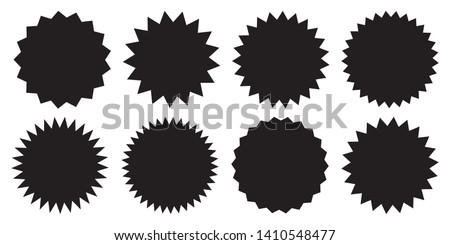 Set of vector starburst, sunburst badges. Black icons on white background. Simple flat style vintage labels, stickers.  #1410548477