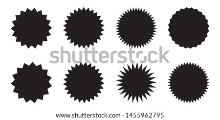 Set of vector starburst, sunburst badges. Black icons on white background. Simple flat style vintage labels, stickers.  #1455962795
