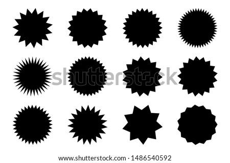 Set of vector starburst, sunburst badges. Black icons on white background. Simple flat style vintage labels, stickers.