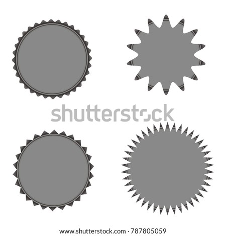 Set of vector starburst, sunburst badges. Grey color. Simple flat style Vintage  labels, stickers. Design elements. A collection of different types icon. #787805059