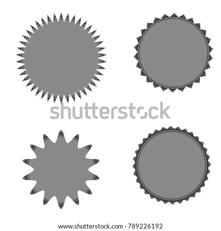 Set of vector starburst, sunburst badges. Grey color. Vintage labels, stickers. A collection of different types icon. #789226192