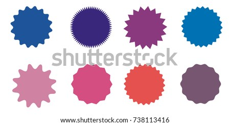Set of vector starburst, sunburst badges. Nine different color. Simple flat style Vintage labels. Design elements. Colored stickers. A collection of different types and colors icon.