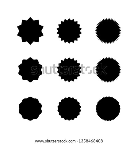 Set of vector starburst, sunburst badges. Promo offer element design. #1358468408