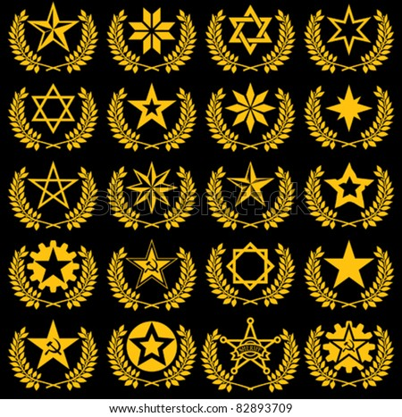 set of vector stars and laurel wreath