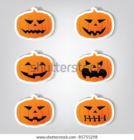 Set of vector stickers. Pumpkins for Halloween.