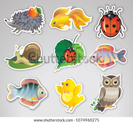 Set of vector stickers with cute animals #1074960275