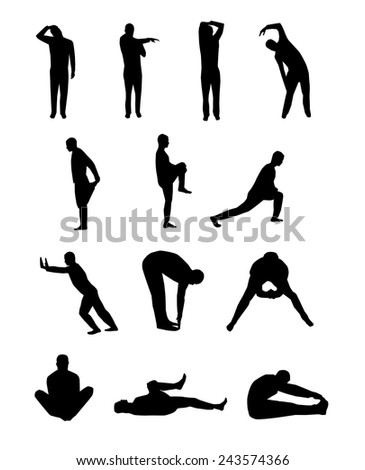 Set of vector stretching silhouettes