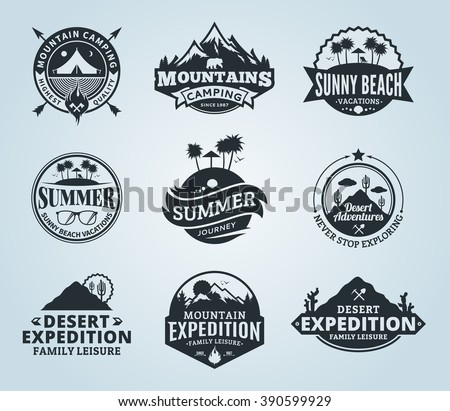 Set of vector summer, mountain and outdoor adventures logo. Tourism, hiking and camping labels. Mountains and travel icons for tourism organizations, outdoor events and summer leisure