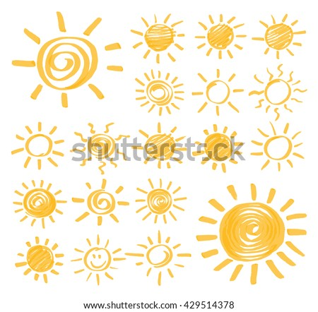 Set of vector sun symbols hand drawn by yellow highlighter. Optimized for one click color changes. Vector in EPS10 format with transparent colors.