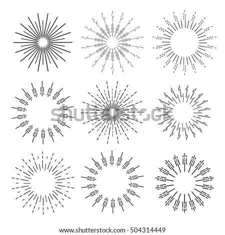 Set of vector sunbursts