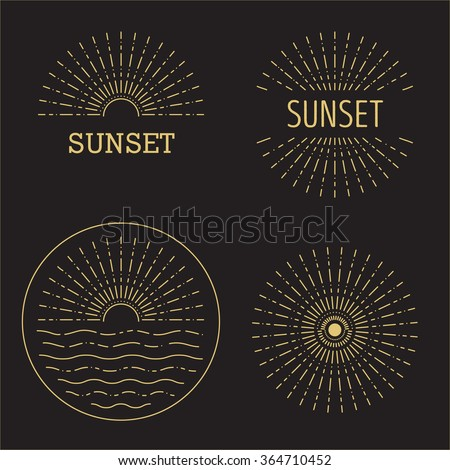 set of vector sunset hipster
