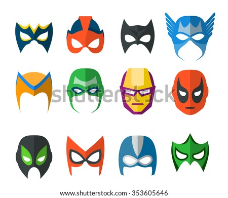 Set of vector super hero masks in flat style