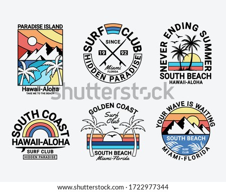Set of vector surfing badges. For t-shirt prints, posters, and other uses. Сток-фото ©