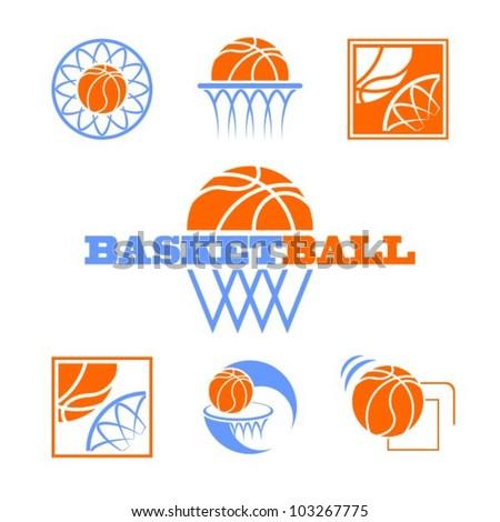 set of vector symbols basketball