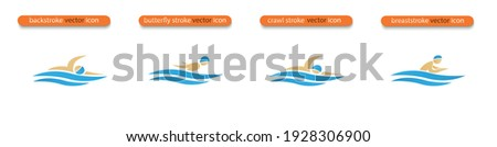 Set of Vector symbols depicting butterfly stroke, front crawl stroke, backstroke and breaststroke swimmers. Swimming pool icons. Sports activity in water sign. Isolated in white background. Photo stock ©