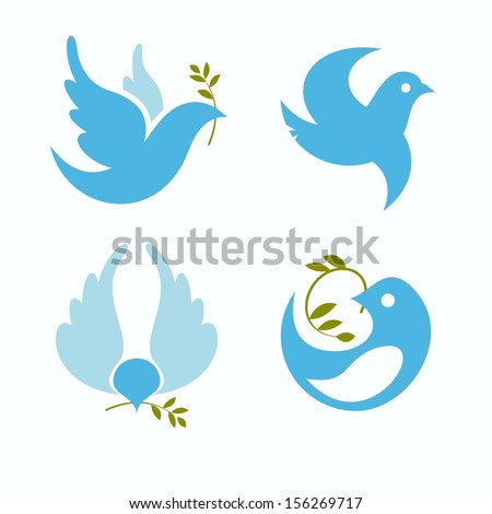 set of vector symbols dove of peace