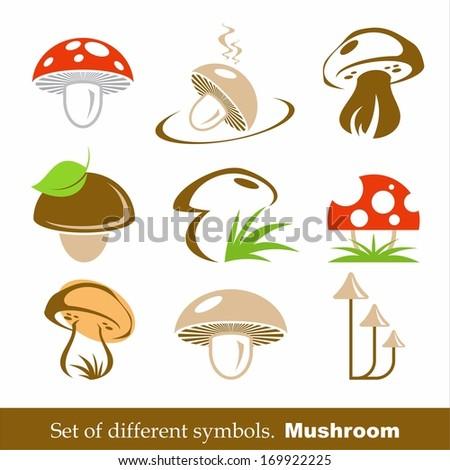 set of vector symbols mushroom