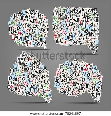 Set of vector talk bubbles of letters from newspaper and magazines