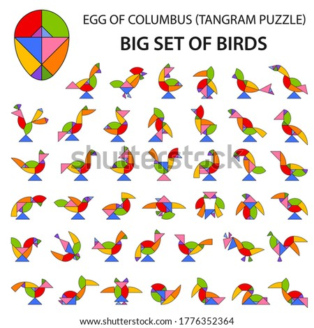 set of vector tangram egg