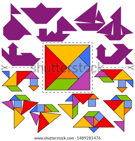 set of vector tangram puzzles