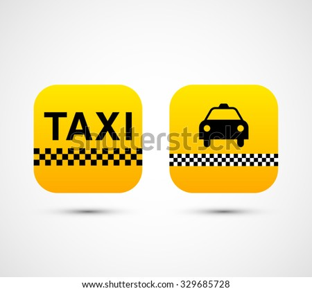 Set of vector taxi app icons for web, mobiles and devices