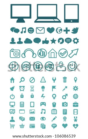 Set of vector technology icons for software, application or websites - stock vector