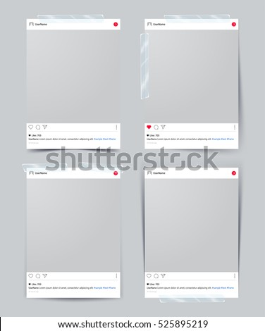 Set of vector template photo frame with adhesive tape, Isolated on gray background. design for your photography and picture. Vector Illustration