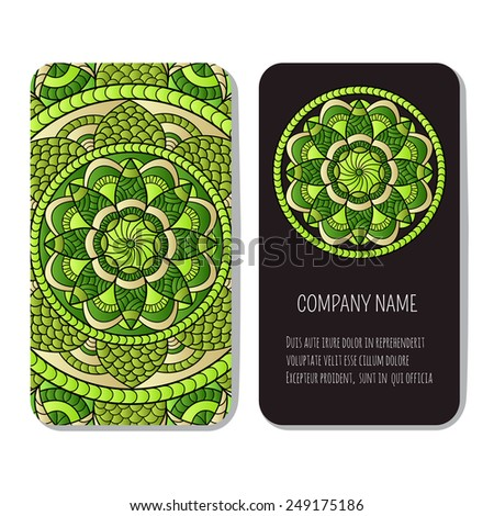 Set of vector templates for Corporate identity with hand drawn ornament